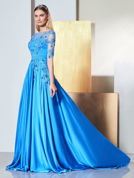 A-Line Bateau Appliques Beading Button Evening Dress