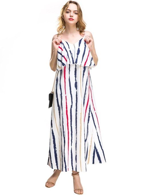 Strappy Striped Double-Layered Women's Maxi Dress