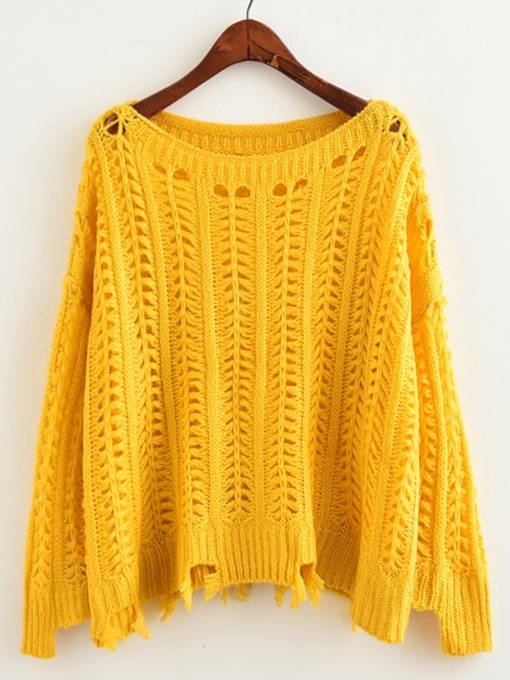 Ripped Hem Thin Pullover Women's Sweater