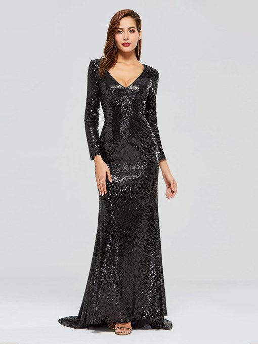 Reflective Dress Trumpet Sequins V-Neck Evening Dress