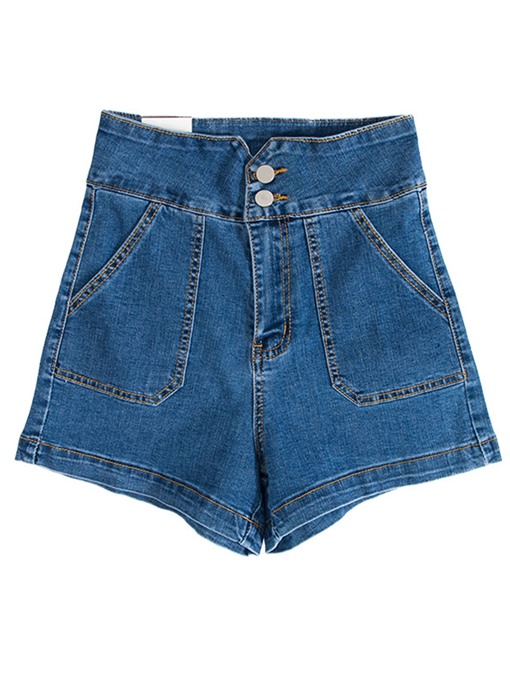 Pocket Button High Waisted Women's Denim Shorts