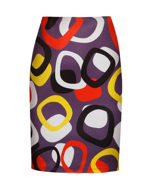 Geometric Print Color Block Bodycon Women's Skirt