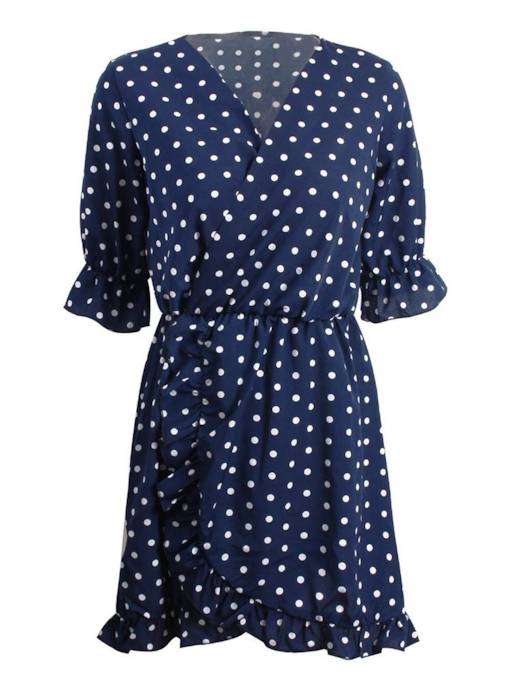 Polka Dots V Neck Women's Day Dress