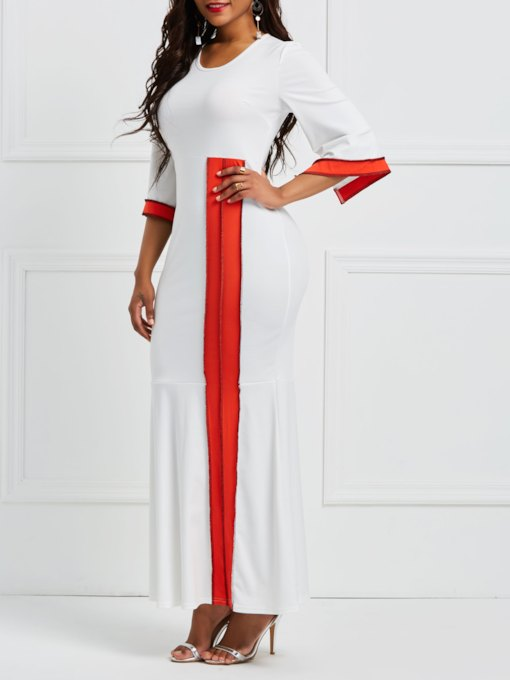 White 3/4 Sleeve Bodycon Women's Maxi Dress
