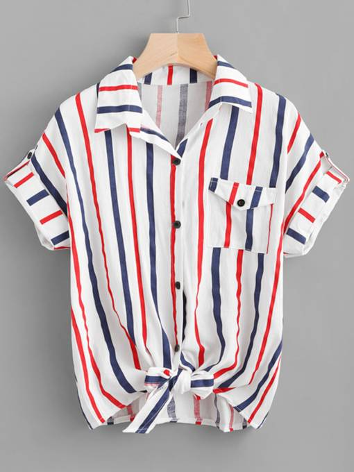 Twist Front Stripe Contrast Color Women's Blouse