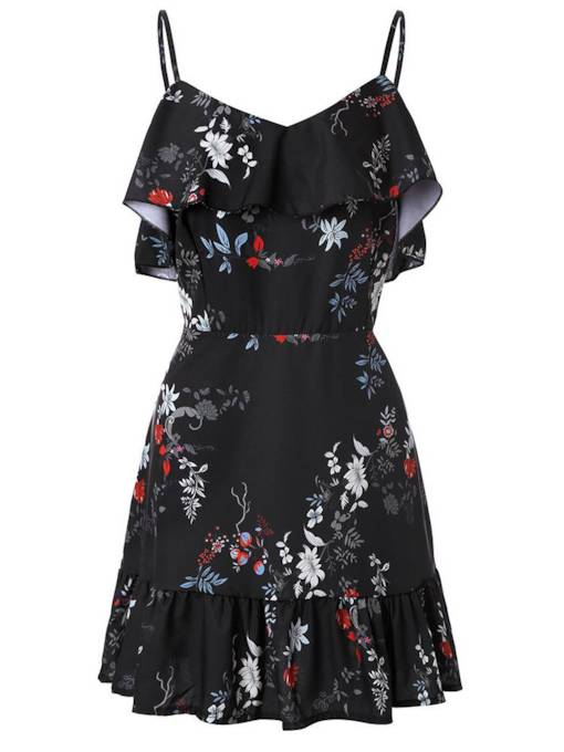Floral Black Strappy Women's Day Dress