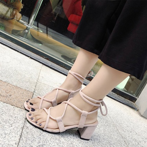 Chunky Heel Ankle Strap Suede Dressy Women's Sandals