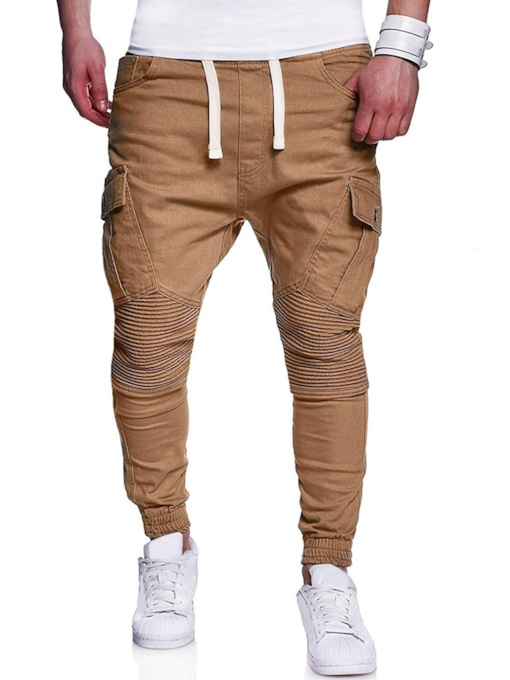 Multi Pocket Solid Color Slim Men's Casual Pants