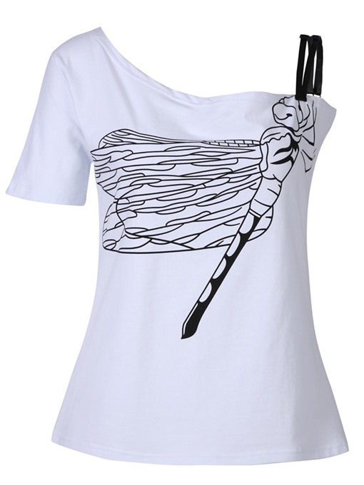 Dragonfly Printed One Shoulder Women's T-Shirt