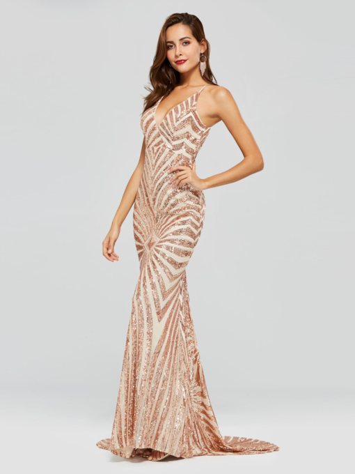 Mermaid Sequins Spaghetti Straps Evening Dress