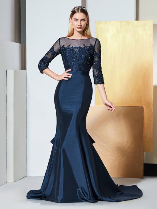 Beading Lace Mermaid Evening Dress with Sleeves