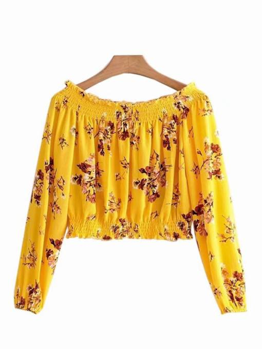 Off Shoulder Lantern Sleeve Floral Women's T-Shirt