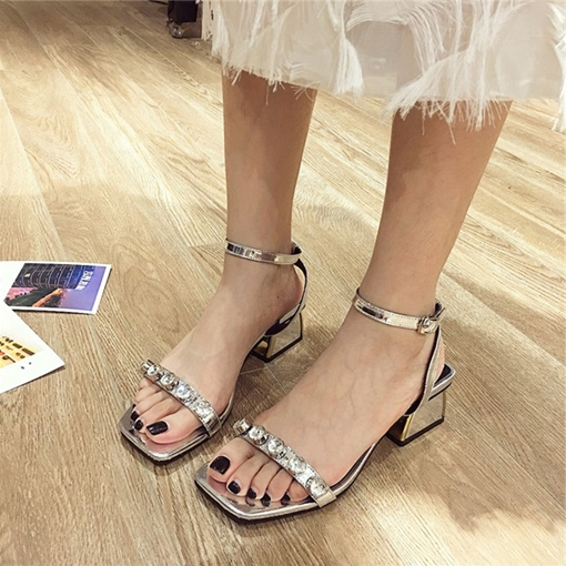 Rhinestone Line-Style Buckle Block Heel Dressy Sandals for Women