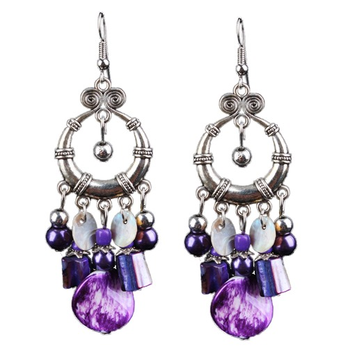 Bohemian Purple Stone Tassel Earrings