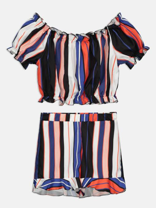 Stripe Crop Tops and Shorts Women's Two Piece Set