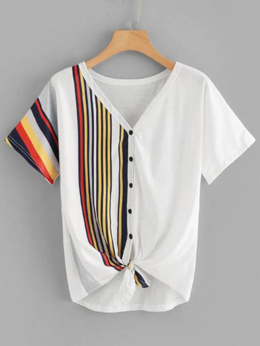 Button Up Color Block Tie Front Women's T-Shirt