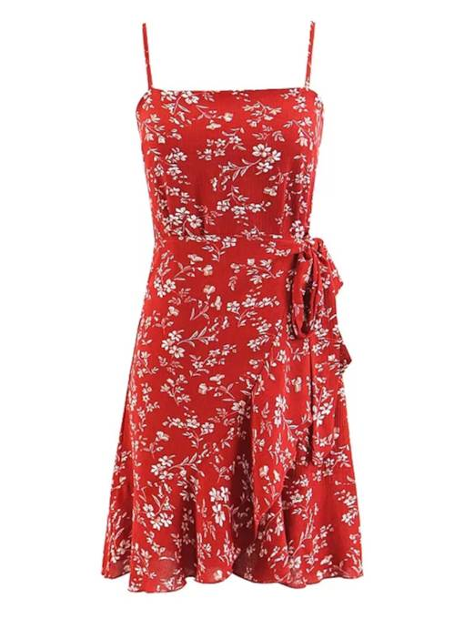Spaghetti Strap Floral Prints High Waist Sexy Dress
