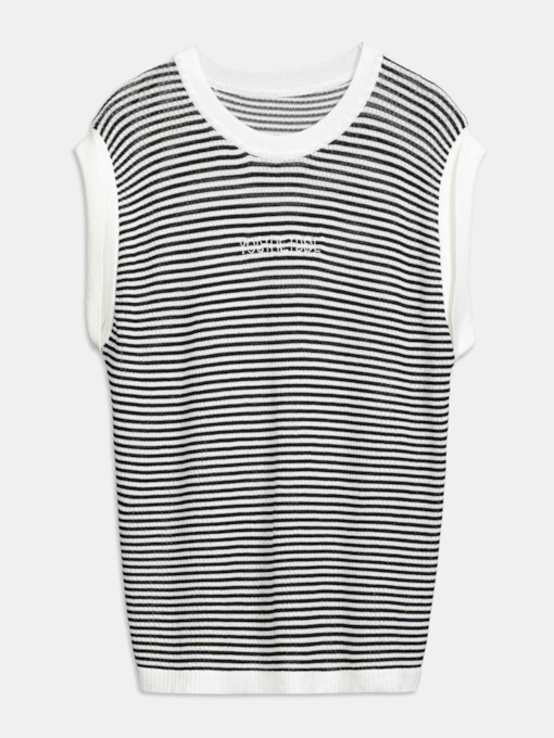 Stripe Printed Sleeveless Color Block Women's T-Shirt