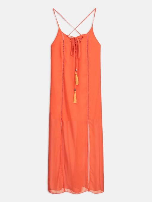 Orange Tassels Sexy Dress Women