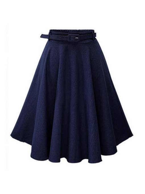 Denim Pleated Lace-Up A Line Women's Skirt