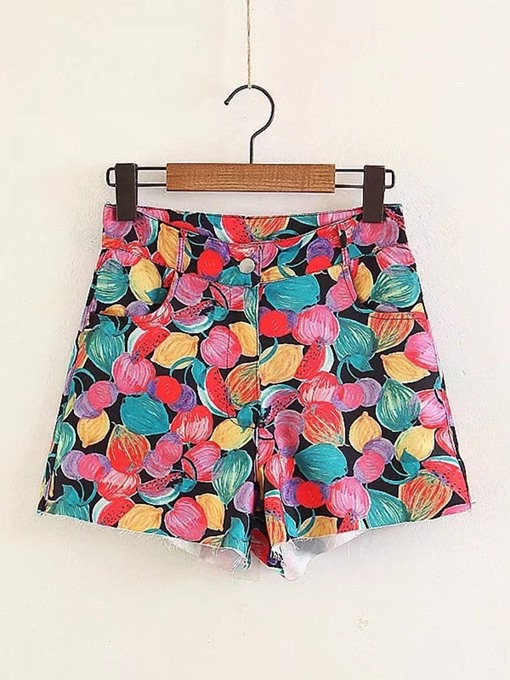 Floral Print High Waist Loose Straight Women's Shorts