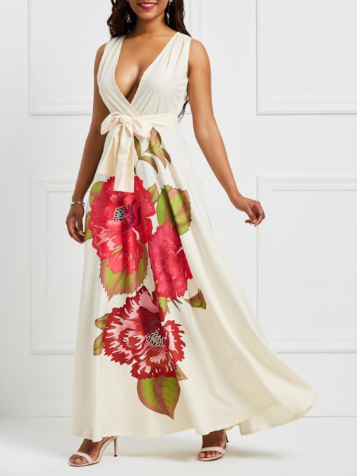 Sleeveless Floral Print V-Neck Women's Maxi Dress