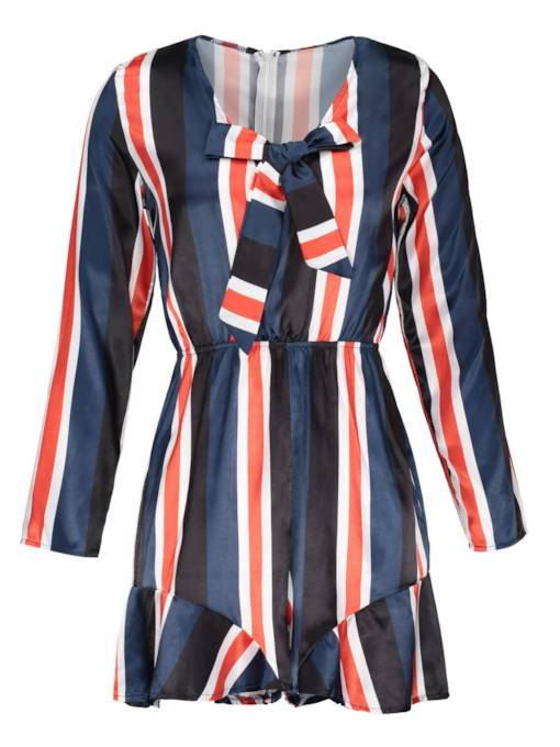 Stripe V-Neck Lace-Up Women's Rompers