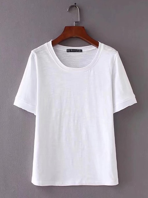 Simple Short Sleeve Pure Color Women's T Shirt