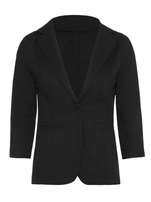 Notched Lapel Solid Color One Button Women's Blazer