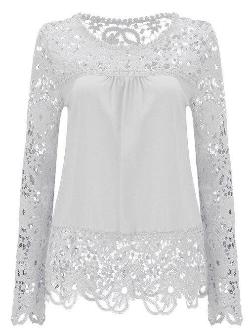 Lace Chiffon Patchwork Hollow Out Women's Blouse