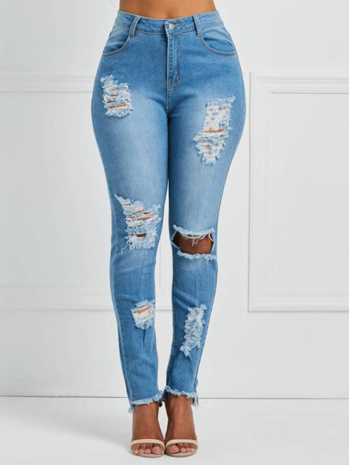 Denim Worn High Waist Women's Jeans