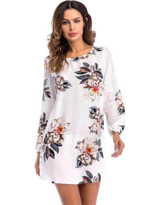 Round Neck Floral Prints Women's Day Dress