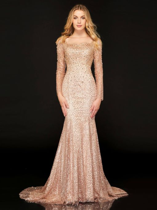 Mermaid Square Lace Beaded Evening Dress