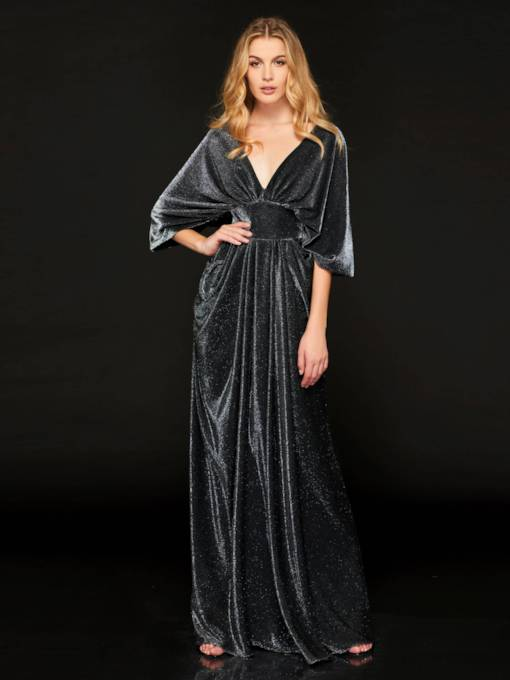 V-Neck Draped Empire Waist Mother of the Bride Dress