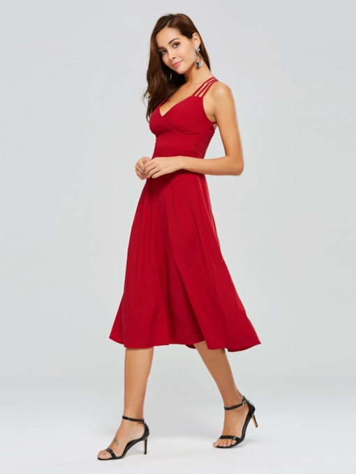Red Backless Women's Day Dress