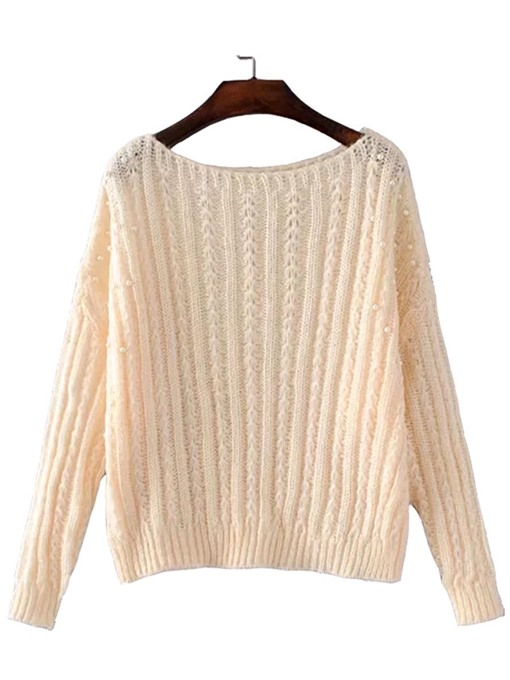 Plain Bead Decor Boat Neck Women's Sweater