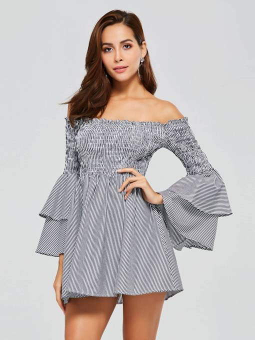 Off-Shoulder-Glockenärmel Damen-Tageskleid