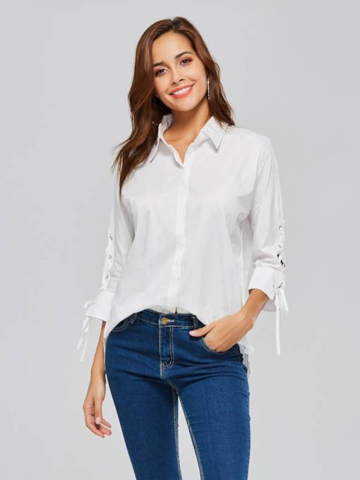 Plain Lace Up Long Sleeve Hidden Button Women's Shirt
