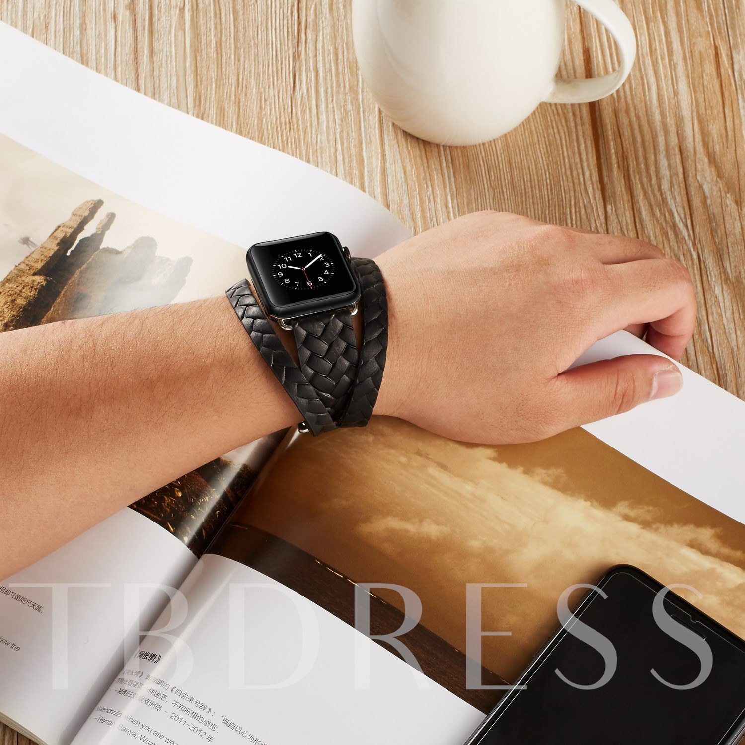 Apple Watch Band Dual Wrist Band Floral Printed Leather