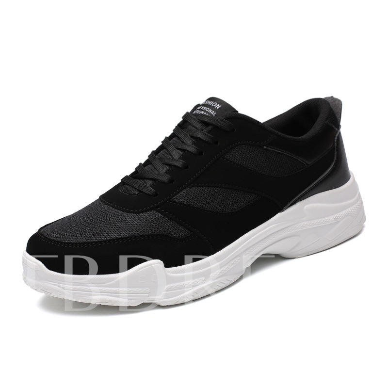 Buy Round Toe Lace-Up Plain Patchwork Men's Sneaker, Spring,Summer,Fall, 13320735 for $38.18 in TBDress store