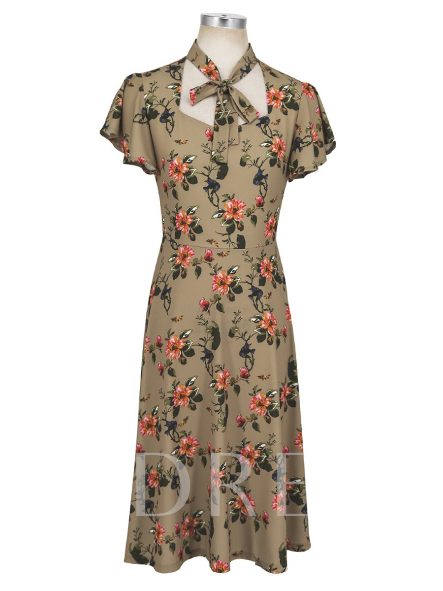 Buy Bow Collar Floral Prints Short Sleeve Day Dress, Summer, 13317869 for $17.65 in TBDress store