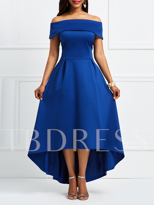 Blue Off Shoulder Slash Neck A-Line Day Dress