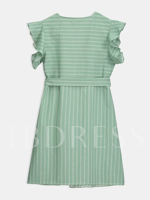 Light Green Lace up Striped Women's Day Dress