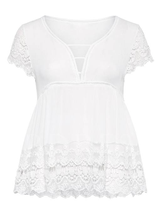 Plus Size Frill High Waist Lace Women's T-Shirt