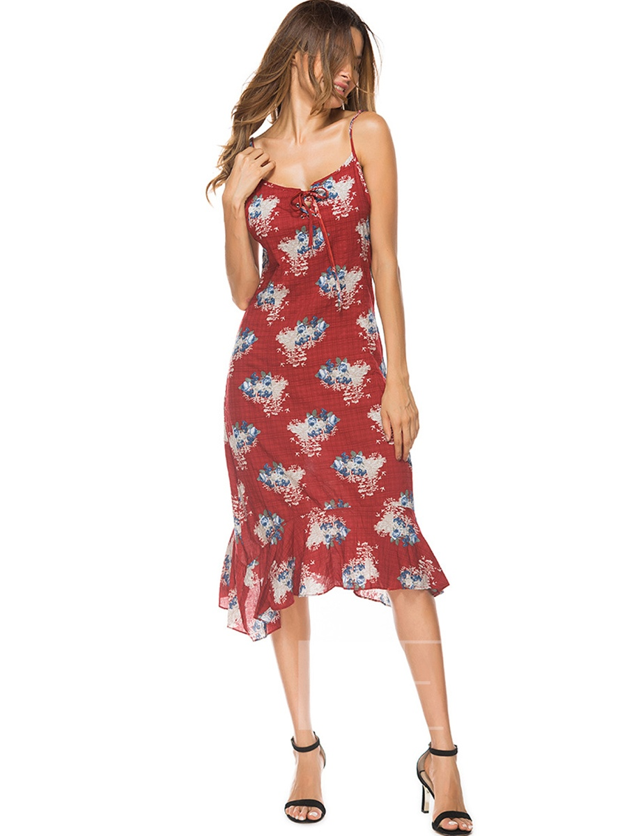 Buy Spaghetti Strap Floral Prints Backless Sexy Dress, Summer, 13317882 for $16.54 in TBDress store