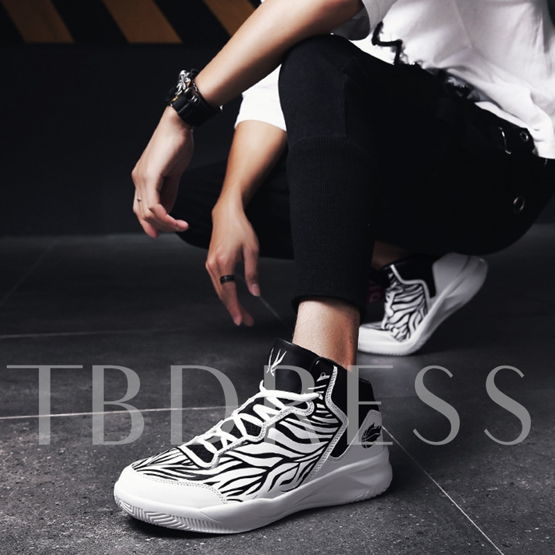 Stripe Prints Lace-Up Round Toe Men's Sneaker