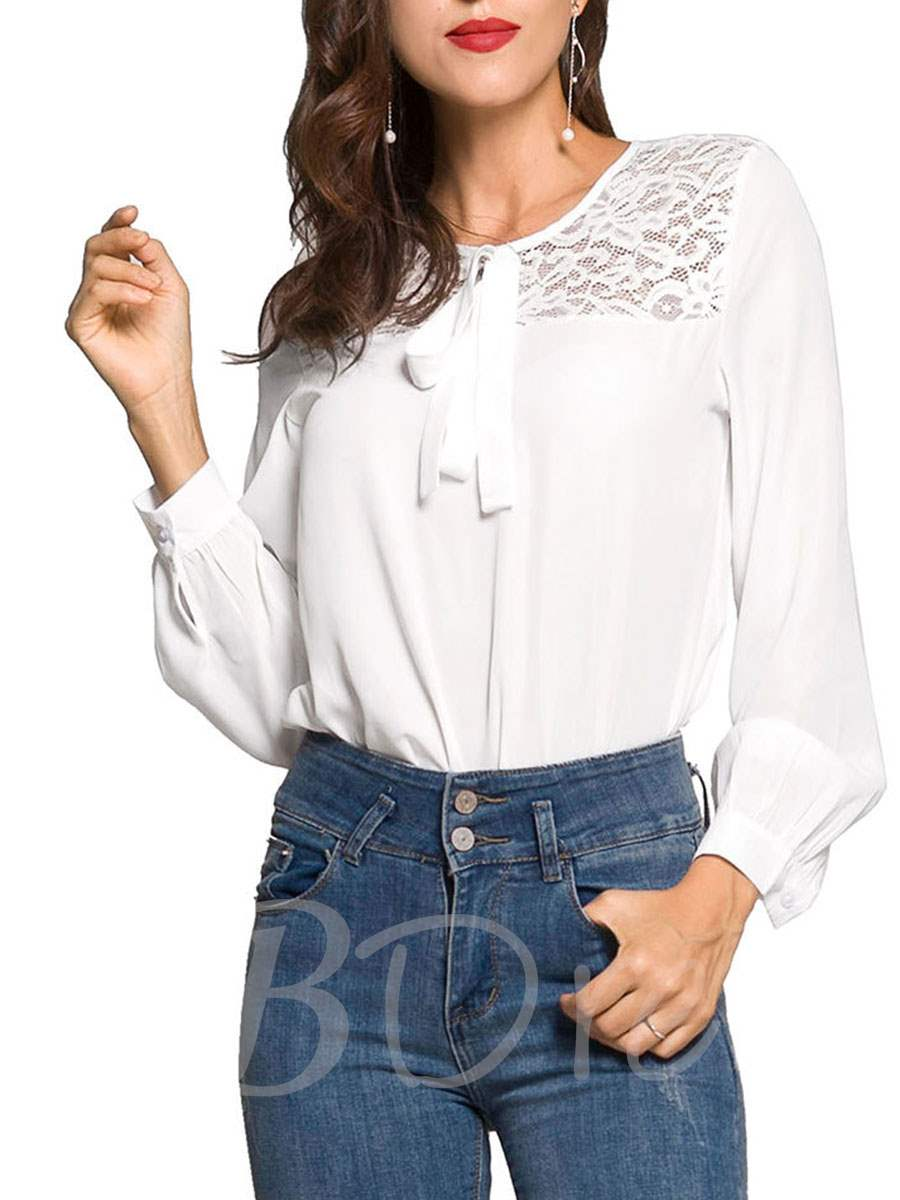 Buy Plain Lace Patchwork Lace Up Women's Blouse, Spring,Fall, 13354898 for $13.24 in TBDress store