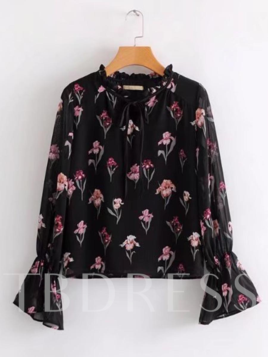 Buy Frilled Floral Bell Sleeve Tie Neck Women's Blouse, Spring,Fall, 13318073 for $20.22 in TBDress store