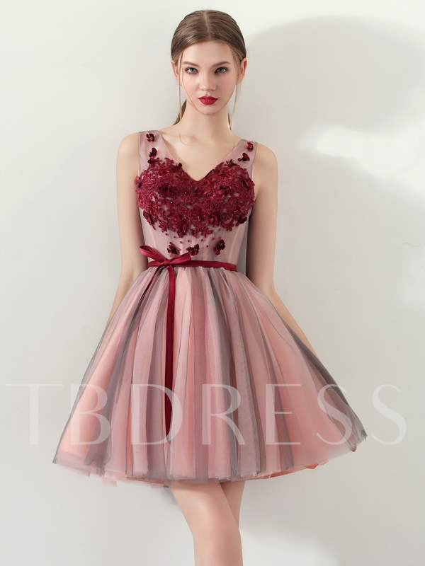 Buy A-Line Appliques Bowknot Sashes Homecoming Dress, Spring,Summer,Fall,Winter, 13331759 for $118.53 in TBDress store