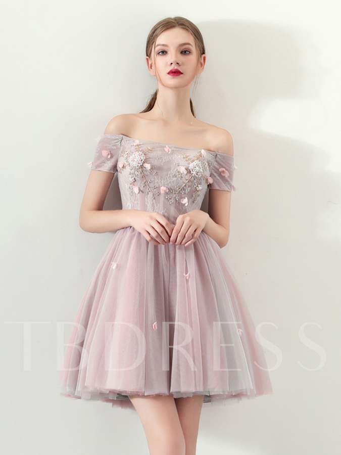 Buy A-Line Appliques Lace Pearls Mini Homecoming Dress, Spring,Summer,Fall,Winter, 13331749 for $118.53 in TBDress store